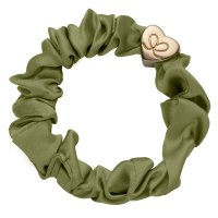 by Eloise London - Gold Heart Silk Scrunchie Olive Green