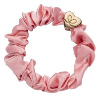 by Eloise London - Gold Heart Silk Scrunchie Rose Tan