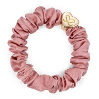 by Eloise London - Gold Heart Silk Scrunchie Champagne Pink