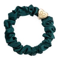 by Eloise London - Gold Heart Silk Scrunchie Chive Green