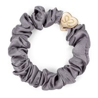 by Eloise London - Gold Heart Silk Scrunchie Grey