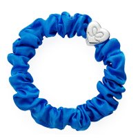 by Eloise London - Silver Heart Silk Scrunchie Royal Blue