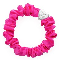 by Eloise London - Silver Heart Silk Scrunchie Neon Pink