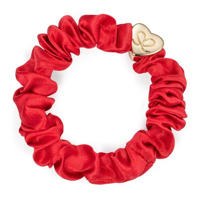 by Eloise London - Gold Heart Silk Scrunchie Chilli Red