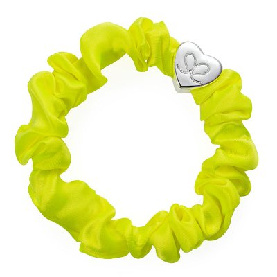 by Eloise London - Silver Heart Silk Scrunchie Lemon Yellow